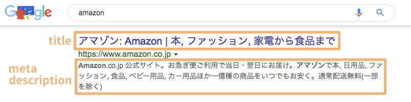 検索結果ページのmeta description