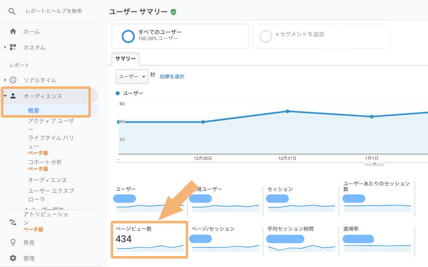 Googleアナリティクスでサイト全体のPV数を確認する