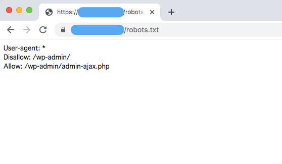 「https://ドメイン名/robots.txt」にアクセスして、設置状況をチェックする